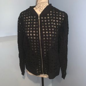 Zara basic mesh sheer bomber jacket black large